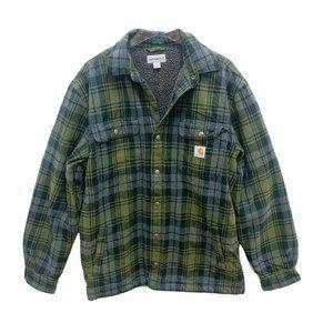 Carhartt Green Plaid Sherpa Fleece Lined Jacket M